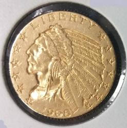 1908 US Gold $5.00 Indian Circulated