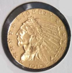 1910 US Gold $5.00 Indian Circulated