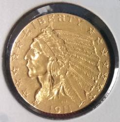 1911-S US Gold $5.00 Indian Circulated