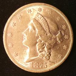 1875-S US Gold $20.00 Liberty Circulated
