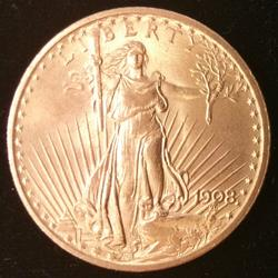 1908 US Gold $20.00 St. Gaudens Uncirculated No Motto