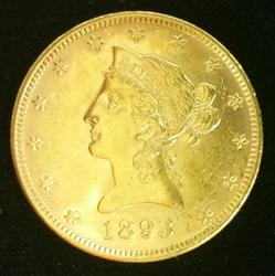 1893 US Gold $10.00 Liberty Circulated