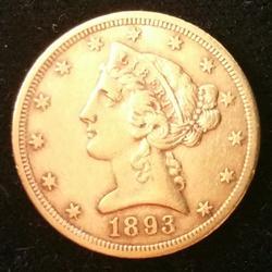 1893-CC US Gold $5.00 Liberty Circulated