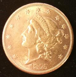 1875-CC US Gold $20.00 Liberty Circulated