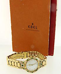 Ladies Diamond & Emerald Ebel Watch in 18K