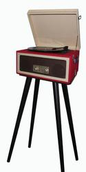 Red Classic Wooden Turntable with Stand