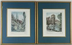 Pair of Lovely Hand Colored German Architectural Etchings