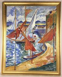 Cheery, Naive Expressionist Sailboats in Port, Signed and Dated
