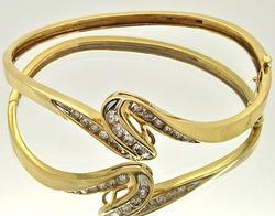 Fancy Design 2ctw Diamond Bangle Bracelet, 14kt Gold