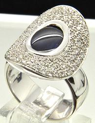 3+Ctw Sapphire & Diamond Ring in 18kt White Gold