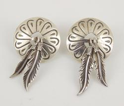Sterling Silver Southwestern Feather Shield Earrings