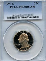 Perfect PR70DCAM 1990-S Clad Quarter, PCGS