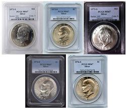 MS67 Eisenhower Silver Dollar Set, PCGS, W/ 1971-S