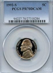 Flawless PR70DCAM 1992-S 5c Jefferson Nickel, PCGS