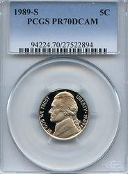 Perfect Better Date 1989-S PR70DCAM 5c Nickel, PCGS