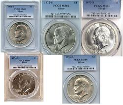 Eisenhower Silver Dollar Set MS66 PCGS all 5 coins