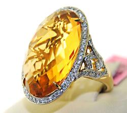 Impressive 16.58ctw Citrine & diamond Ring, 14kt Gold
