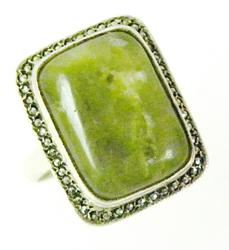 Large Green Agate & Marcasites Sterling Ring