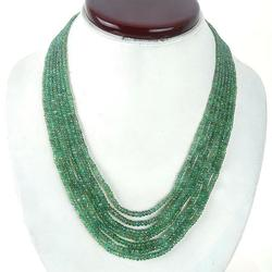 Gorgeous 7 Strand Natural Emerald Necklace