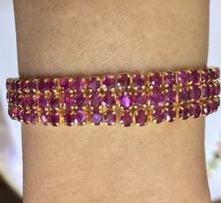18kt Gold Triple Row Ruby Bracelet