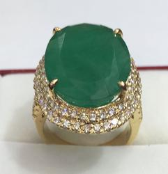 14kt Gold Emerald & Diamond Cocktail Ring