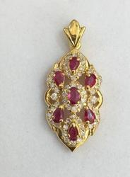 18kt Gold Ruby and Diamond Pendant