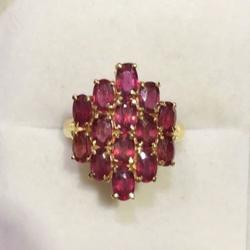 14kt Gold Ruby Cluster Ring