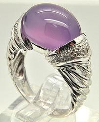 Large 7ctw Amethyst & Diamond Ring in 14kt Gold