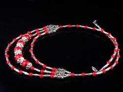 Coral Red Beads Tibetan Necklace