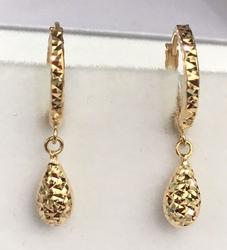 Hoop Tear Drop Dangle Yellow Gold Earrings