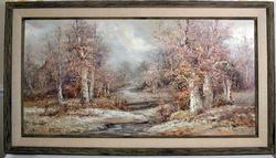 Large Signed Original Oil Painting of Fall Scene