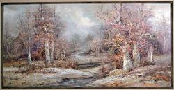 Framed Signed Original Oil Painting of Fall Scene