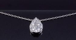 Elegant Pear Shaped Diamond Solitaire Pendant, 14kt
