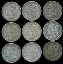 10 All Diff. Morgan Silver Dollars 1880-S to 1887-O