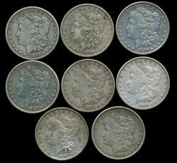 Nice run of 8 Diff. 'P' Mint Morgan Silver Dollars