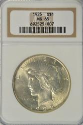 Awesome Gem BU 1925 Peace Silver Dollar. NGC MS65