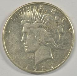 Well struck and Brilliant AU 1927-S Peace Silver Dollar