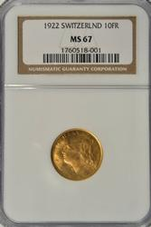 Amazing NGC MS67 graded 1922 Swiss 10 Francs Gold Piece