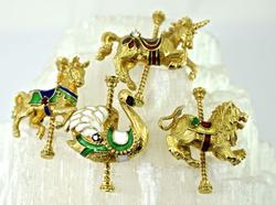 Awesome Group of Colorful 14K Carousel Animal Brooches