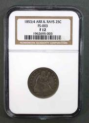 1853/4 Arrows and Rays Seated Quarter FS-003  NGC Fine 12 holder