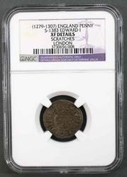 1279-1307 Edward 1 Silver Penny London in NGC holder