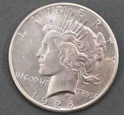 1928 Key BU Lightly toned Peace Dollar