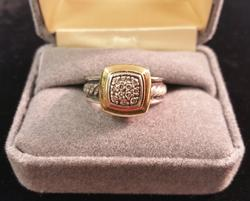David Yurman Pave Diamond Cable Ring 18k & Sterling