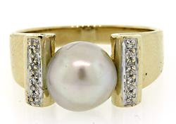 Gray Pearl & Diamond Ring, 14K