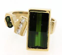 Modern Style Tourmaline & Diamond Ring