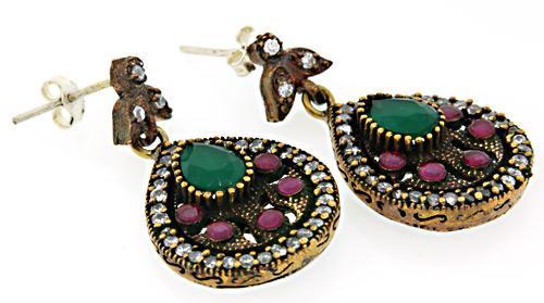 Colorful Brass & Sterling Dangle Earrings