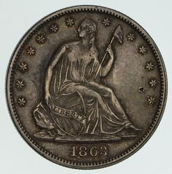 1863 Seated Liberty Half Dollar - Near Uncirculated