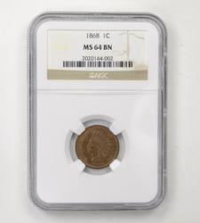 MS64BN 1868 Indian Head Cent - NGC Graded
