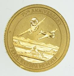 2016 Tuvalu $15.00 1/10 Oz Gold 9999 75th Anniversary Pearl Harbor - Unc