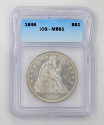 MS61 1846 Seated Liberty Silver Dollar - ICG Graded